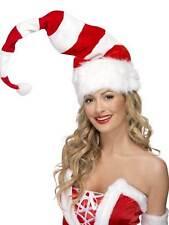 STRIPED SANTA HAT, RED & WHITE, CHRISTMAS/XMAS NOVELTY FANCY DRESS