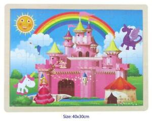 48Pc Large Wooden CASTLE Jigsaw Puzzle Princess Unicorn Dragon Toddler Kids Toy