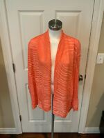Lafayette 148 New York Coral Orange Striped Open Front Cardigan Sweater, Size L
