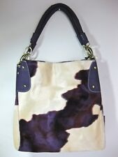 Trendy Cow Print (fur-like) Purple & Tan (off white) Handbag w/gold-tone hdwe