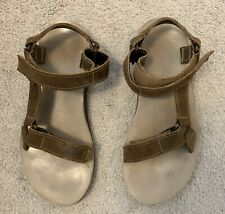Teva Womens Sandal 7 Brown/Tan Suede Sport Casual w/ Adjustable Straps Cushioned