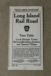 Long Island Railroad Timetable - Local Electric Trains - June 25, 1939