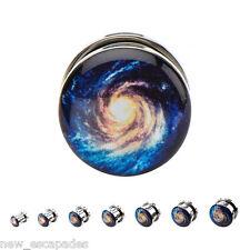 """Ear Plugs 12mm/1/2"""" Gauge Body Jewelry Pair-Space Galaxy Blue Steel Screw On"""