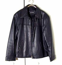 Vtg Black Beaded Leather Guess Moto Leather Jacket Sz L