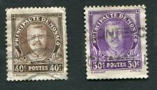 Lot 2 timbres MONACO oblitérés YT n° 115 + 116 - Prince LOUIS II - 1933