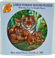 """Bits and Pieces 300 Piece Large Format Round Puzzle """"Watchful Eyes"""" Gary Lessord"""