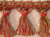 NEW! TASSLE FRINGE 2.5 YARDS RED GOLD FOR DECORATIVE ACCENTS TO SEWING PROJECTS