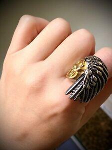 MEN'S 14k White Gold Filled Native Skull Ring Size 6-13 New Drop Mens Ring