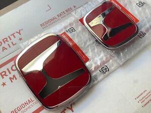 2pcs set Honda Accord COUPE 2Dr 03- 07 JDM Red H Front Rear Type R grille emblem