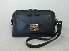 NWT FURLA Onyx Black Leather Bonnie Convertible Cross Body Bag - $298