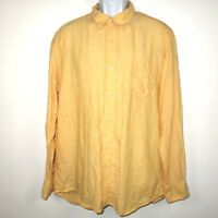 Tommy Bahama Relax 100% Linen Long Sleeve Button Shirt Men's Large Solid Yellow