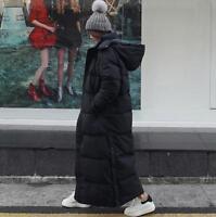 Women Puffer Coat Down Padded Hood Parka Full Length Overcoat Winter Girls Zsell