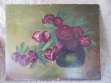 Antique Oil Painting on Board Folky Roses in Vase by Mrs.E.B.Clark