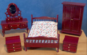1/12 dolls house furniture Mahogany Bedroom Bed Dressing Table Etc miniature LGW