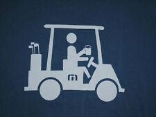 TRAVIS MATHEW Golf T-Shirt GOLFER In Cart w BEER In Hand BLUE Cotton Mens LG
