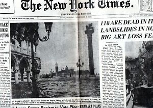 Facsimile The New York Times 7 November 1966 118 are dead in Italy