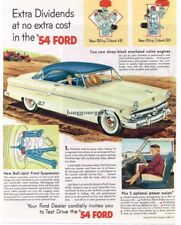 1954 FORD Crestline 2-door Coupe Sandstone White, Cadet Blue art Vtg Print Ad