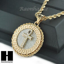 """MENS STAINLESS STEEL ANKH CROSS MEDALLION PENDANT 24"""" ROPE CHAIN NECKLACE NP013"""