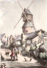 AQUARELLE COULEUR VIEUX MOULIN/ Moulin de La garde à Avrillé ( Maine et Loire )
