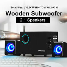Wooden 2.1 Computer Speakers 3D Surround Sound Stereo Speaker Subwoofer Bass