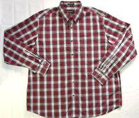 Eddie Bauer Button Down Shirt XL Men's Red Plaid Wrinkle Resistant O28