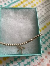Tiffany & Co Silver Bow Bead Bracelet Pouch + Box Included