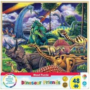 Masterpieces - Wood Fun Facts Dinosaur Friends Jigsaw Puzzle (48 Pieces)