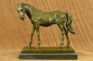 Solid Bronze Mene Horse Head Sculpture Bust Marble Base Art Deco Figure Figurine