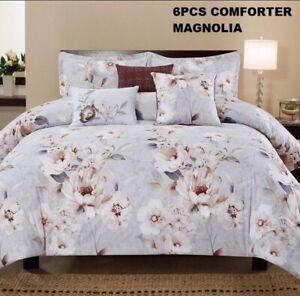 MAGNOLIA FLOWERS DECORATIVE COMFORTER SET 6 PCS KING SIZE