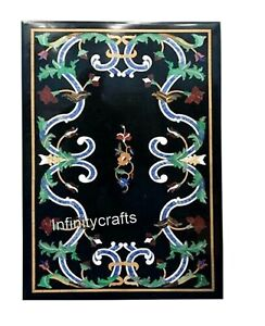 18 x 30 Inches Marble Coffee Table Top Marquetry Art Royal Look Sofa Side Table