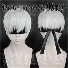 NieR:Automata 9S YoRHa No.9 Model S Cosplay Wig Short Silver White Hair + Track@