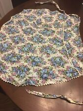 New listing Vintage Apron with Blue and Purple Roses on White Cotton Fabric with ricrac