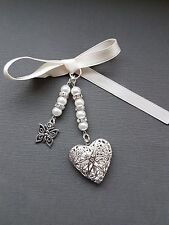 Wedding Bouquet Photo Charm  Silver Filigree Locket with butterfly charm