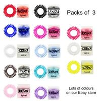 Telephone Wire Styled Hair Bobble Bands.Pack 3 Genuine KODO SPIRALS All Colours
