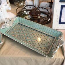 Turquoise Ornate Glass Tray Dish Living Room Bathroom Vanity Home Decor