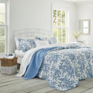 Bedford 3-Piece Delft Floral Cotton Full/Queen Quilt Set
