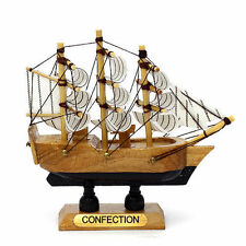 Handmade Wood Miniature Model  Sailing Boat Ship Interior Decoration Wooden AA