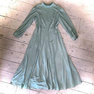 Vintage 1970's Crimplene Maxi Dress Boho Size 12-14
