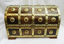 Brass lié en Bois Cabin Trunk/Pirate Coffre au trésor en bois Boîte de rangement-NEUF