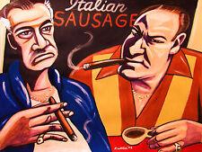THE SOPRANOS PRINT poster tony cigars hbo series coffee gandolfini panel shirt