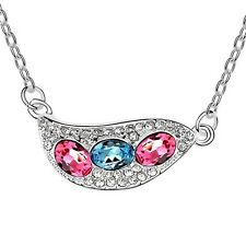 Swarovski Crystal Lovely Multicolored Pea Necklace 18K White Gold Gp Made With