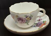 MEISSEN Hand Painted FLOWERS PURPLE ROSE Porcelain COFFEE CUP & Saucer