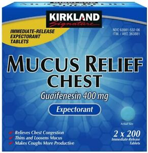 KIRKLAND MUCUS RELIEF CHEST Guaifenesin 400Mg 2X200=400 Tablet EXP 10/23