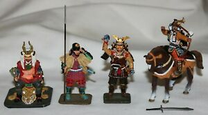 (7) Piece Del Prado Figures Lot (4) Samurai, Soldier, Stone Thrower and Viking