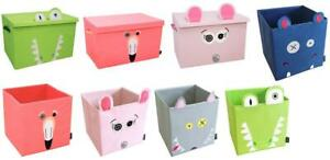 Deglingos Fabric Folding Collapsible Storage Toy Box 32cm Cube or 60cm with Lid