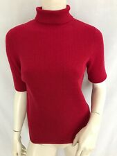 Pure Collection Ribbed Roll Neck Jumper Raspberry Pink Size 8