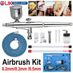 Airbrush Kit Spray Gun Dual Action Air Brush Compressor Paint Art Tattoo Set UK
