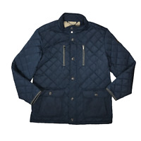 Fynch Hatton Mens Navy Blue Diamond Stitch Quilted Jacket Size XL Padded Coat