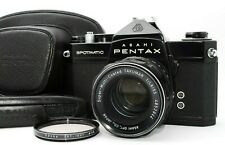 【MINT w/Case】Pentax Spotmatic SP Black SLR + SMC Takumar 55mm f/1.8 From JAPAN