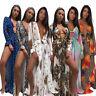 Damen Chiffon Strand Kleid Sommerkleid Morgenmantel Leopard bunt Print BC530